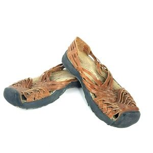 KEEN Woven Brown Leather Fisherman Sandals Womens